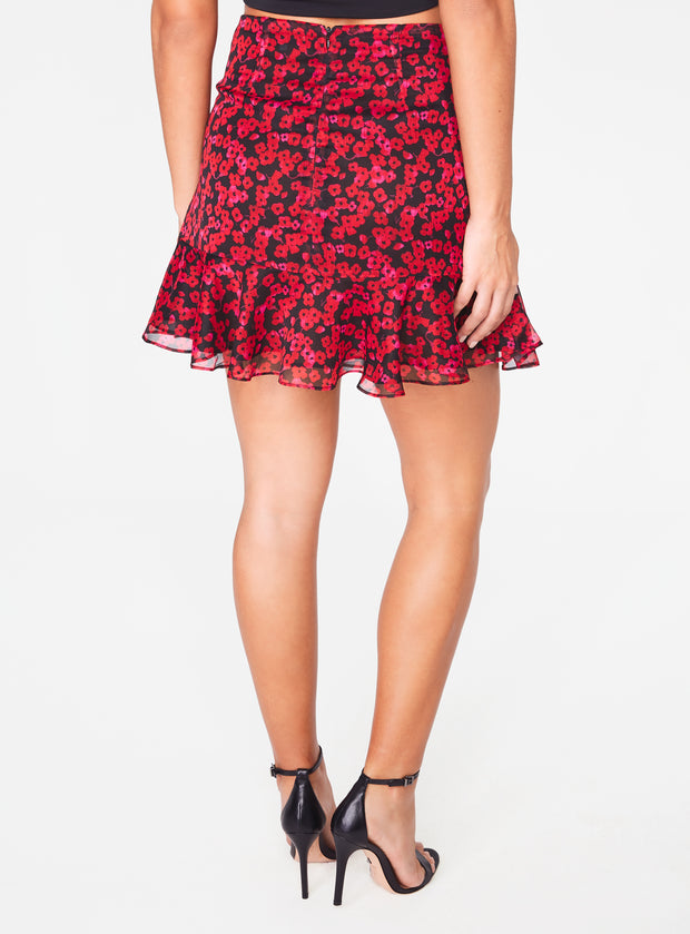 Red Floral Ruched Mini Skirt