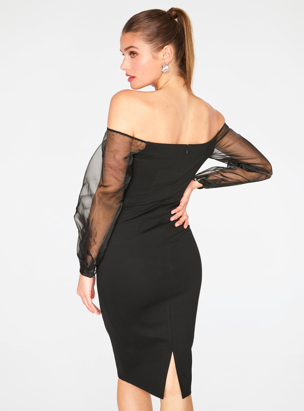 Black Off the Shoulder Midi Pencil Dress