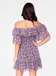 Pink Floral Off the Shoulder Ruffle Dress