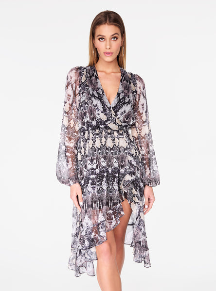 Snake Print Open Back Ruffle Dress
