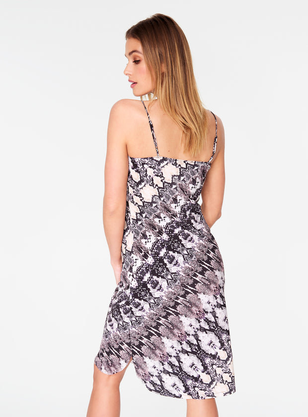 Snake Print Strappy Slip Dress