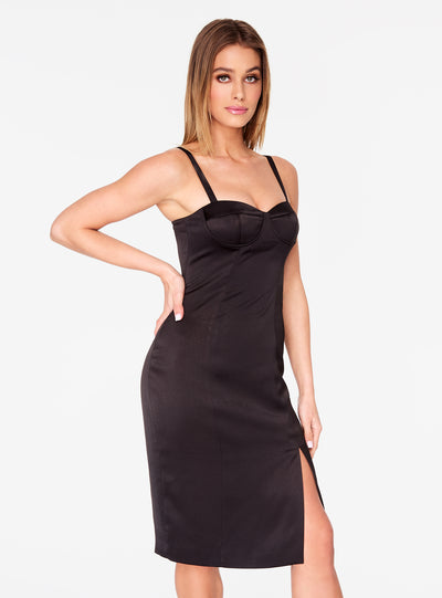 Black Front Slit Bustier Dress