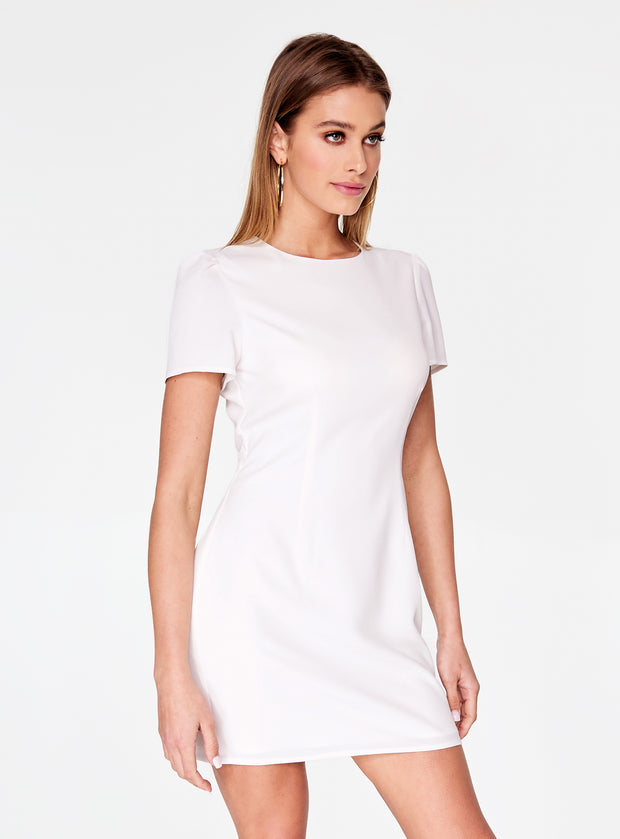 White Cap Sleeve Mini Dress