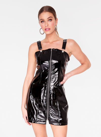 Black Faux Leather Overall Dress
