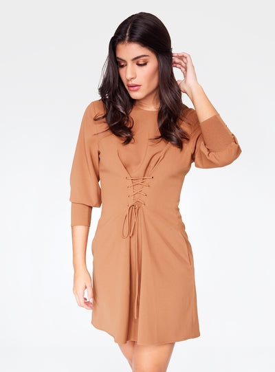 Camel 3/4 Sleeve Mini Dress