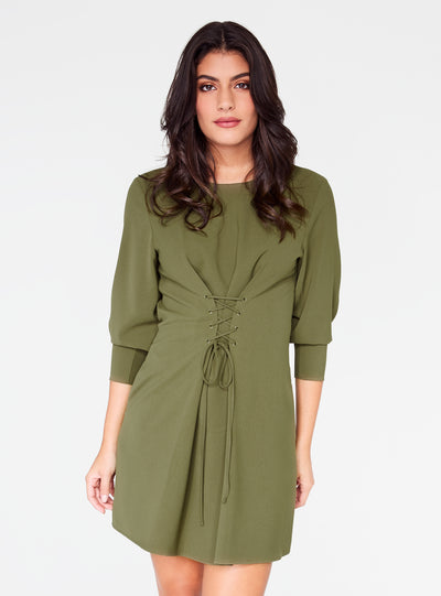 Olive 3/4 Sleeve Mini Dress