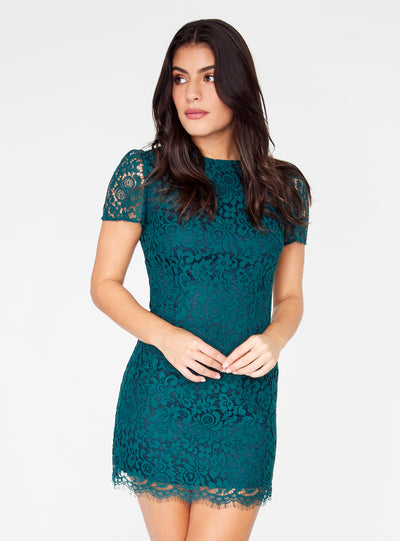Marine Cap Sleeve Lace Dress