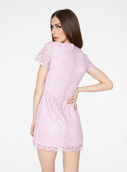 Lavender Cap Sleeve Lace Dress