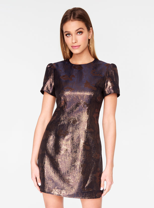 Metallic Cap Sleeve Mini Dress