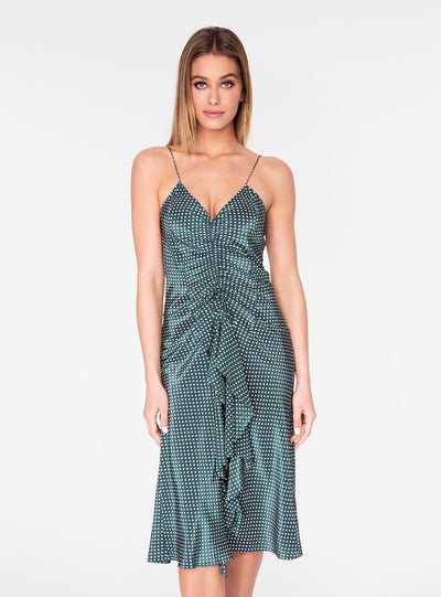 Teal Polka Dot Ruched Front Tank Dress