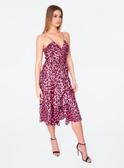 Ruched Front Tank Dress in Pink Cheetah