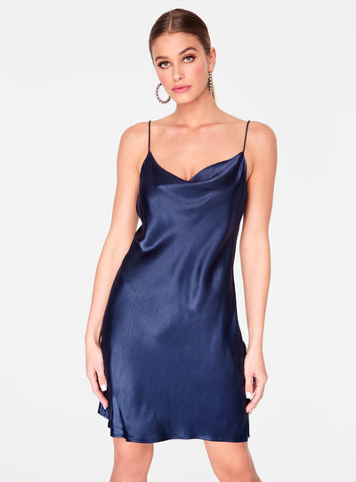 Slate Cowl Neck Satin Slip Dress