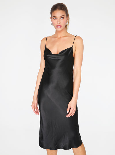 Black Cowl Neck Satin Slip Midi Dress