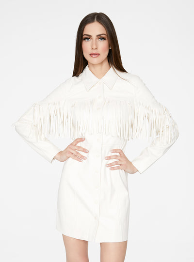 Off White Faux Leather Fringe Western Dress