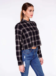 Grey Cropped Button Up Flannel Shirt