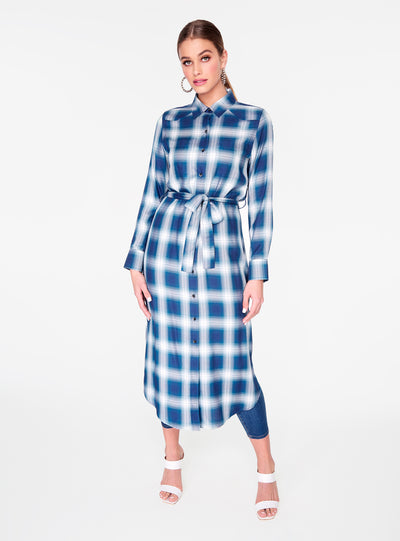 Long Sleeve Blue Button Up Duster