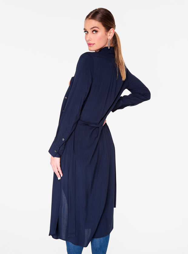 Long Sleeve Navy Button Up Duster