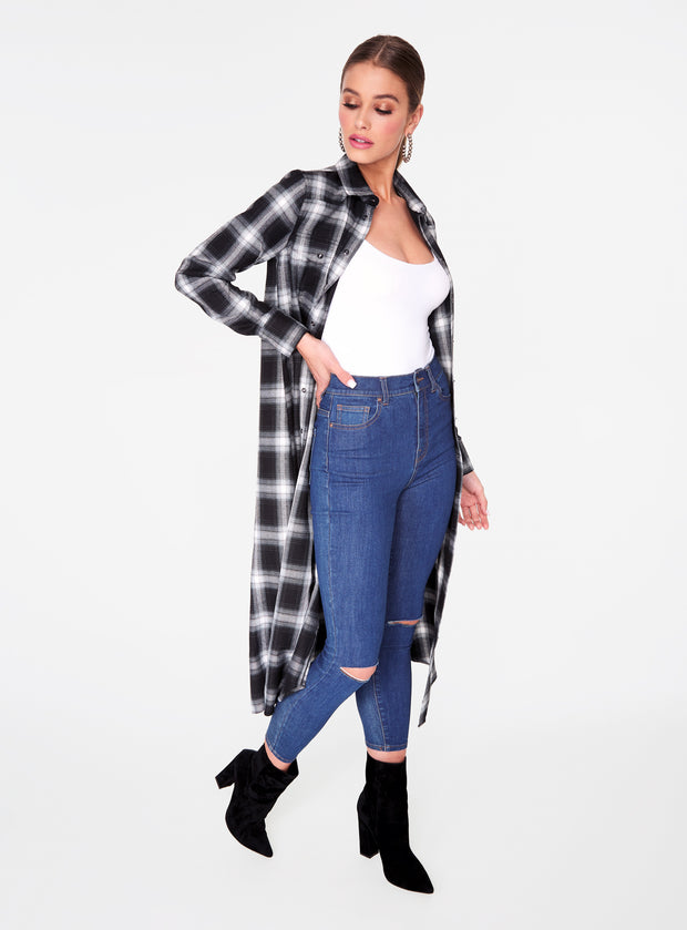 Black Flannel Cowboy Duster