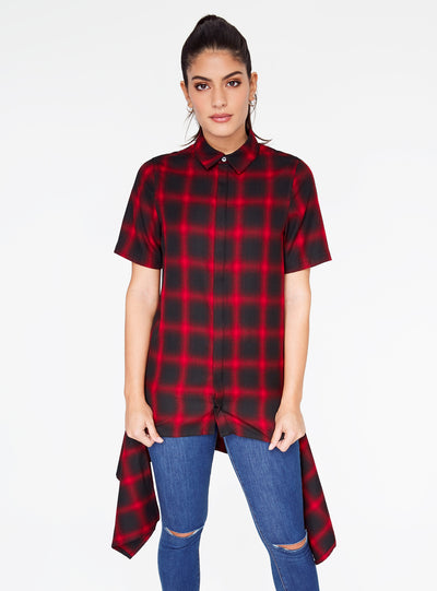 Red Short Sleeve Button Up Flannel Top