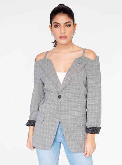 Plaid Cold Shoulder Blazer