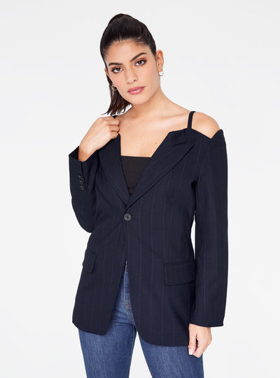 Pinstriped Cold Shoulder Blazer