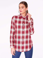 Red Button Up Flannel Top