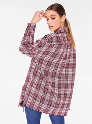 Red Oversized Button Up Tweed Shirt