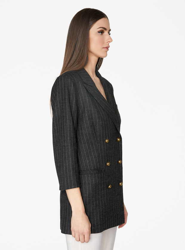 Charcoal Double Breasted Striped Blazer