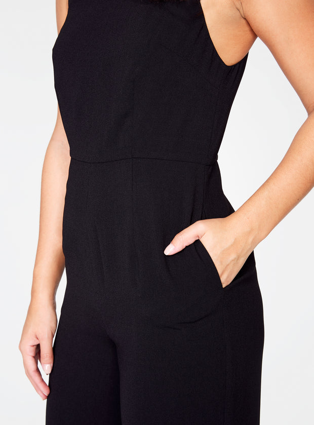 Straight Neck Jumpsuit in Black