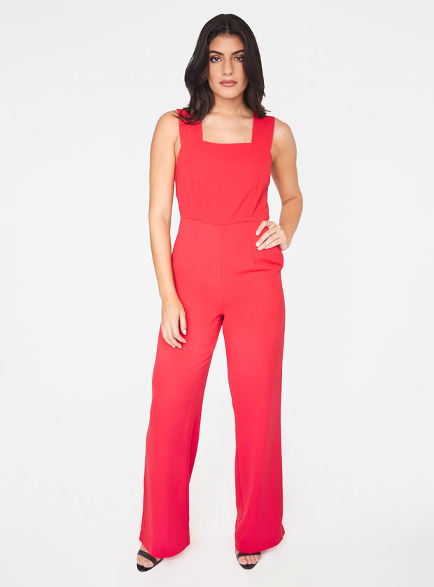 Straight Neck Jumpsuit in Red