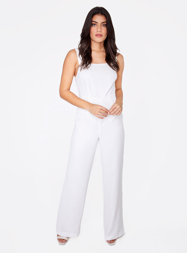 Straight Neck Jumpsuit in White