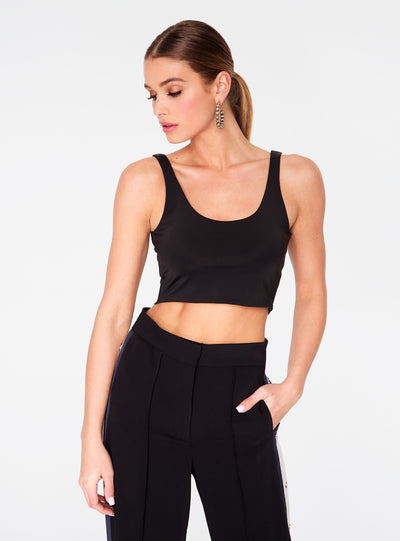 HeyYou Basic Black Sleek Straight Neck Crop Top