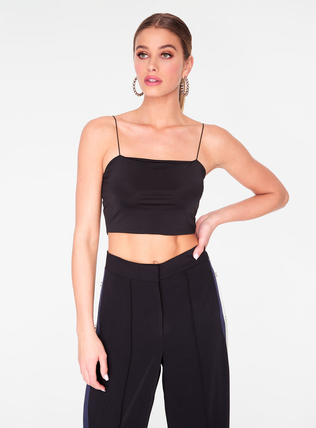 HeyYou Basic Black Strappy Crop Top