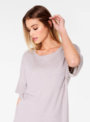 Grey Oversized Distressed T-Shirt Dress