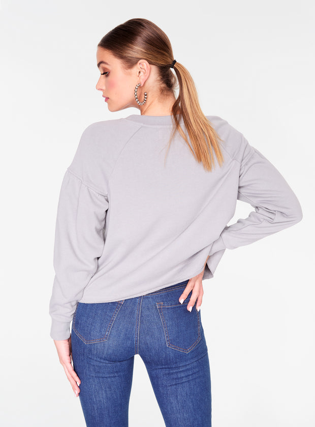 HeyYou Basic Long Sleeve Sweatshirt in Heather Grey