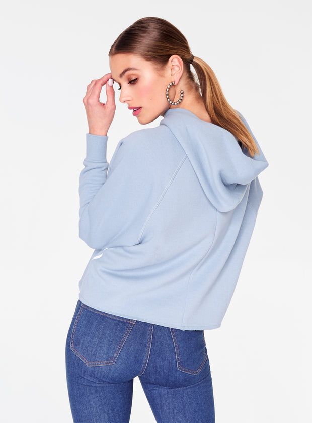 HeyYou Basic Sky Blue Long Sleeve Cropped Hoodie
