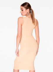 HeyYou Basic Sand Ribbed Crew Neck Midi Dress