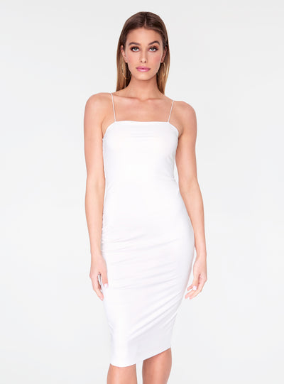 HeyYou Basic Off White Midi Bodycon Dress