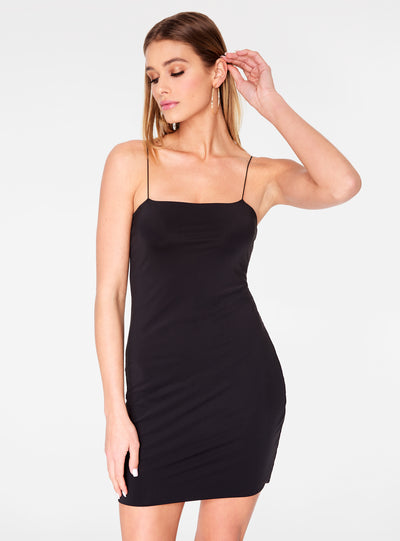 HeyYou Basic Black Mini Bodycon Dress