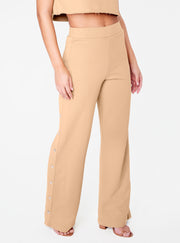 Beige High Waisted Knit Side Snap Pant