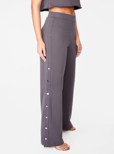 Dark Grey High Waisted Knit Side Snap Pant