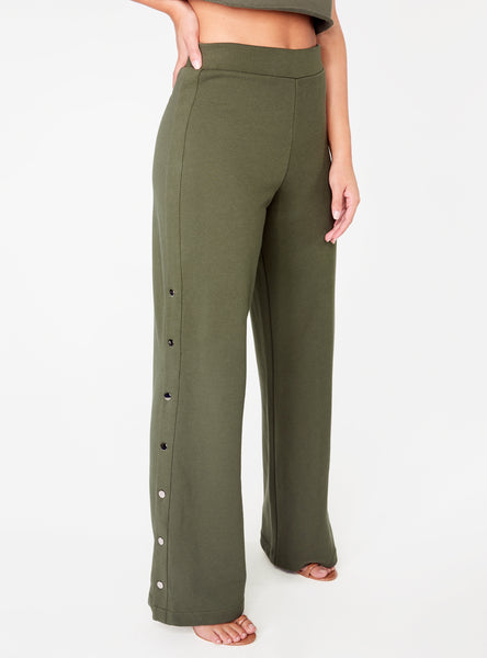 Olive High Waisted Knit Side Snap Pant