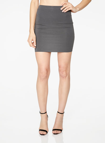 HeyYou Basic Slate Knit Mini Skirt