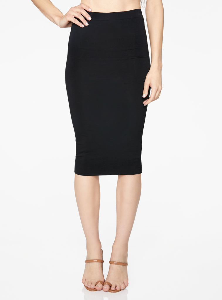 HeyYou Basic Black Knit Midi Skirt