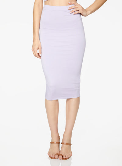 HeyYou Basic Lavender Knit Midi Skirt