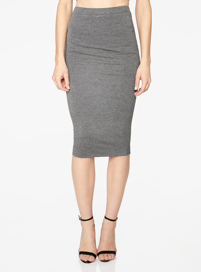 HeyYou Basic Heather Grey Knit Midi Skirt