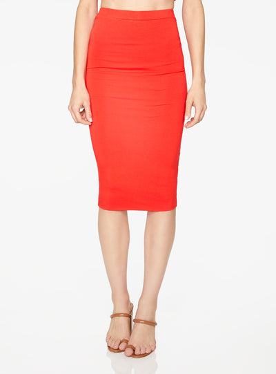 HeyYou Basic Red Knit Midi Skirt
