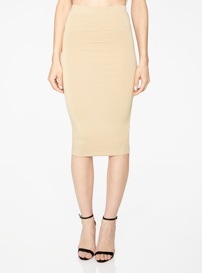 HeyYou Basic Sand Knit Midi Skirt