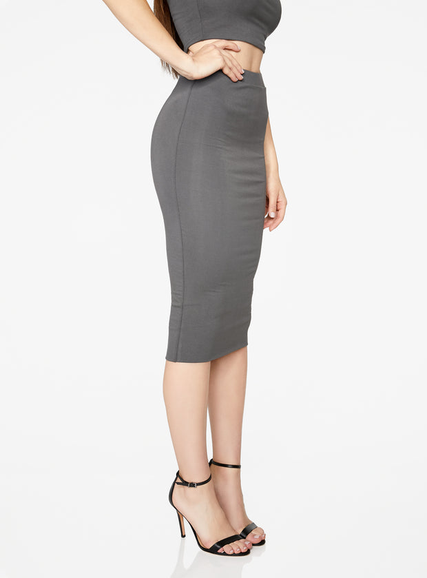 HeyYou Basic Slate Knit Midi Skirt
