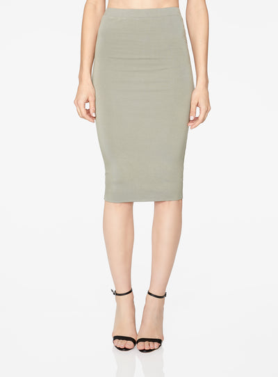 HeyYou Basic Sage Knit Midi Skirt